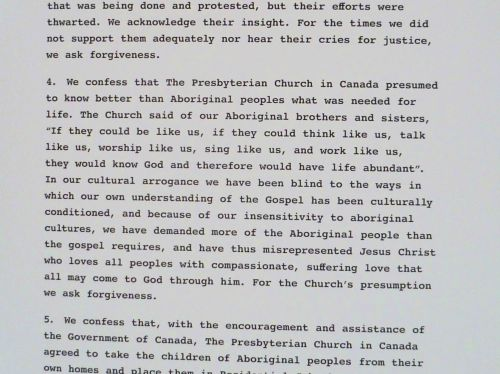 Part of an apology from the Presbyterian Church of Canada
